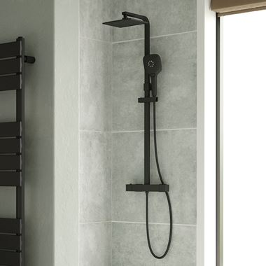 Drench Noir Matt Black Square Exposed Height-Adjustable Rigid Riser Rail Shower System