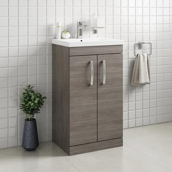 Drench Emily 500mm Floorstanding 2 Door Vanity Unit & Basin - Grey Avola
