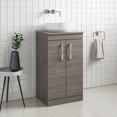 Drench Emily 500mm Floorstanding 2 Door Vanity Unit and Countertop - Grey Avola