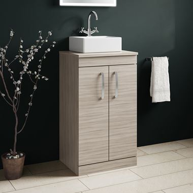 Drench Emily 500mm Floorstanding 2 Door Vanity Unit and Countertop - Driftwood