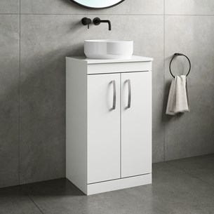 Drench Emily 500mm Floorstanding 2 Door Vanity Unit and Countertop - Gloss White