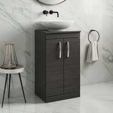 Drench Emily 500mm Floorstanding 2 Door Vanity Unit and Countertop - Hacienda Black