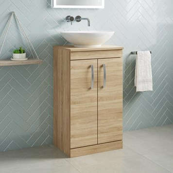 Drench Emily 500mm Floorstanding 2 Door Vanity Unit and Countertop - Natural Oak