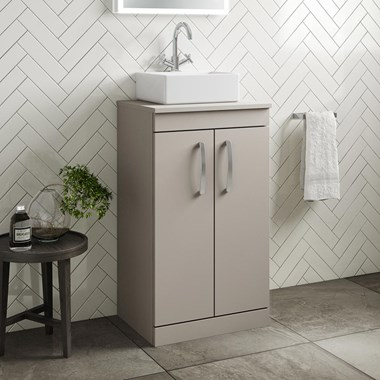 Drench Emily 500mm Floorstanding 2 Door Vanity Unit and Countertop - Matt Stone Grey