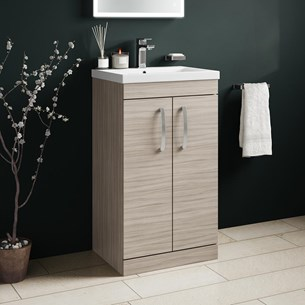 Drench Emily 500mm Floorstanding 2 Door Vanity Unit & Basin - Driftwood