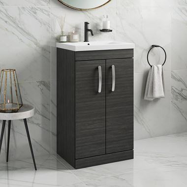 Drench Emily 500mm Floorstanding 2 Door Vanity Unit & Basin - Hacienda Black