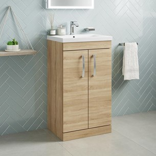 Drench Emily 500mm Floorstanding 2 Door Vanity Unit & Basin - Natural Oak