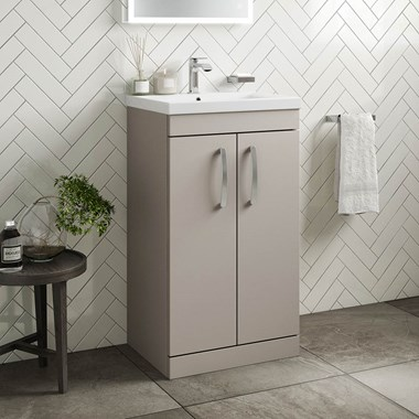 Drench Emily 500mm Floorstanding 2 Door Vanity Unit & Basin - Matt Stone Grey
