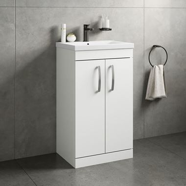 Drench Emily 500mm Floorstanding 2 Door Vanity Unit & Basin - Gloss White