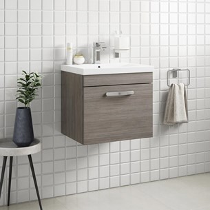 Drench Emily 500mm Wall Mounted 1 Drawer Vanity Unit & Basin - Grey Avola