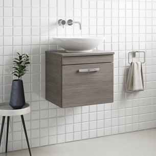 Drench Emily 500mm Wall Mounted 1 Drawer Vanity Unit And Countertop Grey Avola