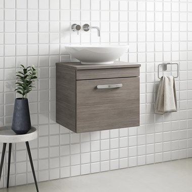 Drench Emily 500mm Wall Mounted 1 Drawer Vanity Unit and Countertop - Grey Avola