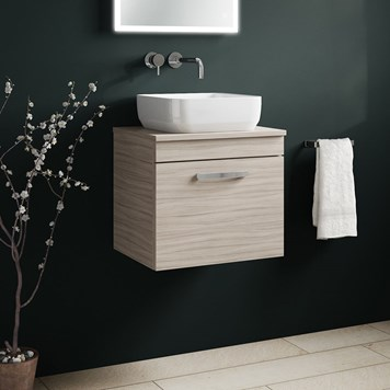Drench Emily 500mm Wall Mounted 1 Drawer Vanity Unit and Countertop - Driftwood