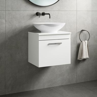 Drench Emily 500mm Wall Mounted 1 Drawer Vanity Unit and Countertop - Gloss White