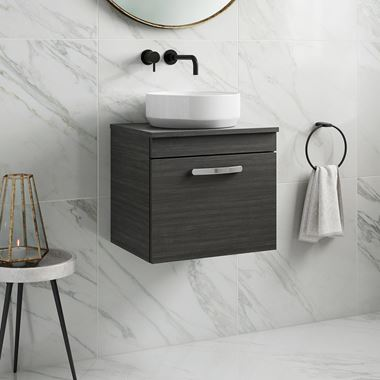 Drench Emily 500mm Wall Mounted 1 Drawer Vanity Unit and Countertop - Hacienda Black