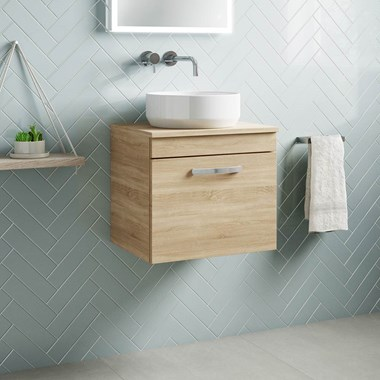 Drench Emily 500mm Wall Mounted 1 Drawer Vanity Unit and Countertop - Natural Oak