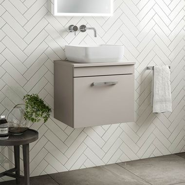 Drench Emily 500mm Wall Mounted 1 Drawer Vanity Unit and Countertop - Matt Stone Grey