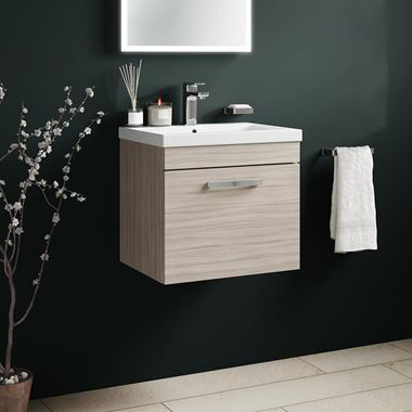 Drench Emily 500mm Wall Mounted 1 Drawer Vanity Unit & Basin - Driftwood