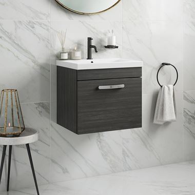 Drench Emily 500mm Wall Mounted 1 Drawer Vanity Unit & Basin - Hacienda Black