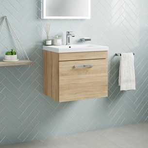 Drench Emily 500mm Wall Mounted 1 Drawer Vanity Unit & Basin - Natural Oak