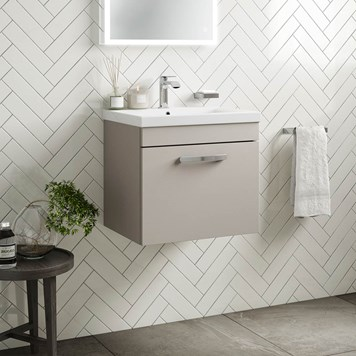Drench Emily 500mm Wall Mounted 1 Drawer Vanity Unit & Basin - Matt Stone Grey
