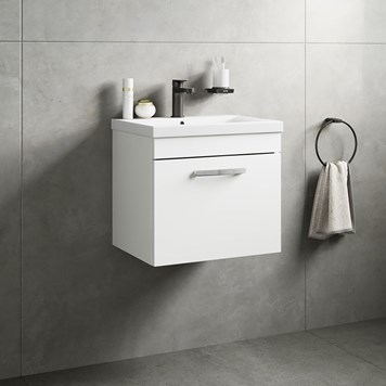 Drench Emily 500mm Wall Mounted 1 Drawer Vanity Unit & Basin - Gloss White