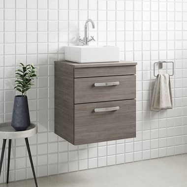 Drench Emily 500mm Wall Mounted 2 Drawer Vanity Unit and Countertop - Grey Avola