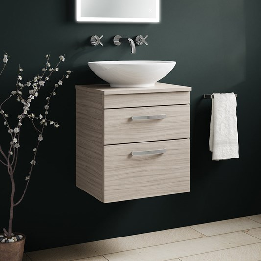 Drench Emily 500mm Wall Mounted 2 Drawer Vanity Unit and Countertop - Driftwood