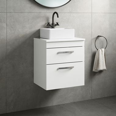 Drench Emily 500mm Wall Mounted 2 Drawer Vanity Unit and Countertop - Gloss White