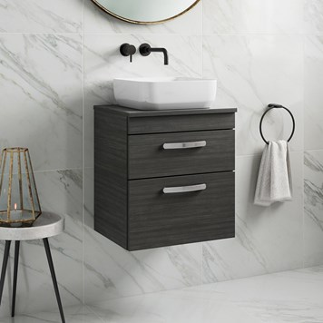 Drench Emily 500mm Wall Mounted 2 Drawer Vanity Unit and Countertop - Hacienda Black