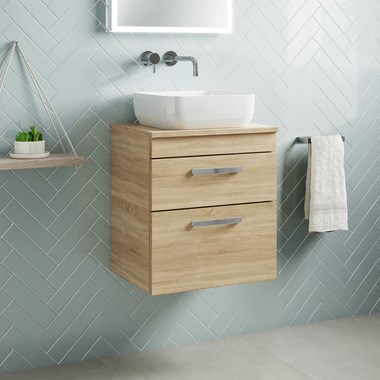 Drench Emily 500mm Wall Mounted 2 Drawer Vanity Unit and Countertop - Natural Oak