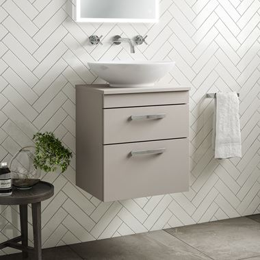 Drench Emily 500mm Wall Mounted Matt Stone Grey 2 Drawer Unit