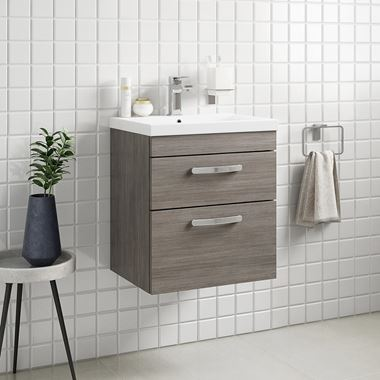 Drench Emily 500mm Wall Mounted 2 Drawer Vanity Unit & Basin - Grey Avola