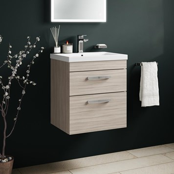 Drench Emily 500mm Wall Mounted 2 Drawer Vanity Unit & Basin - Driftwood
