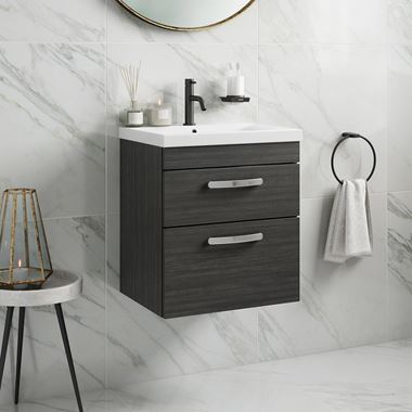 Drench Emily 500mm Wall Mounted 2 Drawer Vanity Unit & Basin - Hacienda Black