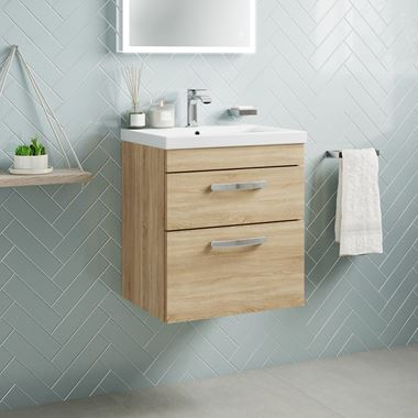 Drench Emily 500mm Wall Mounted 2 Drawer Vanity Unit & Basin - Natural Oak