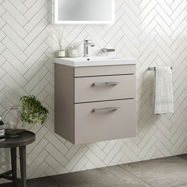 Drench Emily 500mm Wall Mounted 2 Drawer Vanity Unit & Basin - Matt Stone Grey