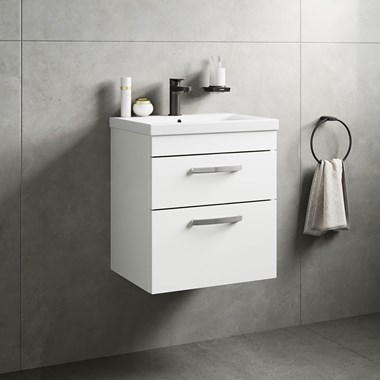 Drench Emily 500mm Wall Mounted 2 Drawer Vanity Unit & Basin - Gloss White