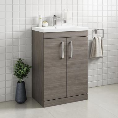 Drench Emily 600mm Floorstanding 2 Door Vanity Unit & Basin - Grey Avola