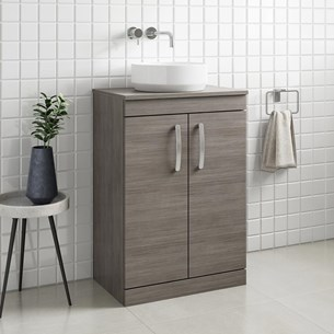 Drench Emily 600mm Floorstanding 2 Door Vanity Unit and Countertop - Grey Avola