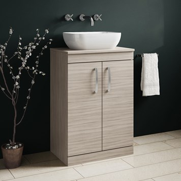 Drench Emily 600mm Floorstanding 2 Door Vanity Unit and Countertop - Driftwood