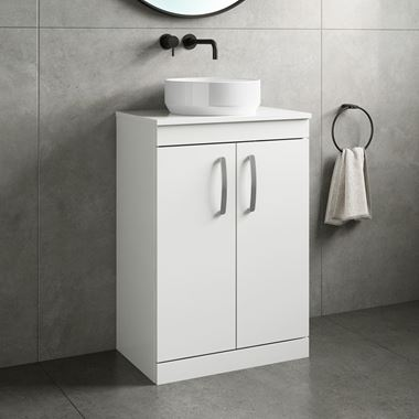 Drench Emily 600mm Floorstanding 2 Door Vanity Unit and Countertop - Gloss White