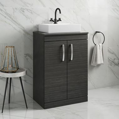 Drench Emily 600mm Floorstanding 2 Door Vanity Unit and Countertop - Hacienda Black