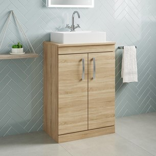 Drench Emily 600mm Floorstanding 2 Door Vanity Unit and Countertop - Natural Oak