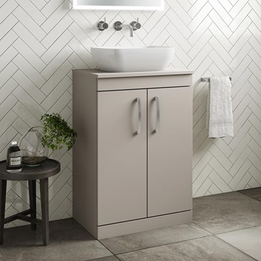 Drench Emily 600mm Floorstanding 2 Door Vanity Unit and Countertop - Matt Stone Grey
