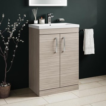 Drench Emily 600mm Floorstanding 2 Door Vanity Unit & Basin - Driftwood