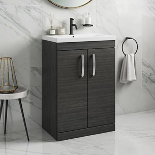 Drench Emily 600mm Floorstanding 2 Door Vanity Unit & Basin - Hacienda Black