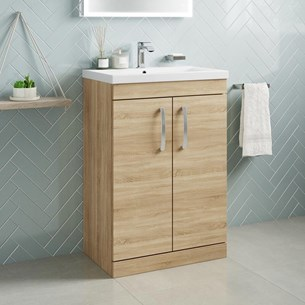 Drench Emily 600mm Floorstanding 2 Door Vanity Unit & Basin - Natural Oak