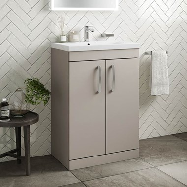 Drench Emily 600mm Floorstanding 2 Door Vanity Unit & Basin - Matt Stone Grey