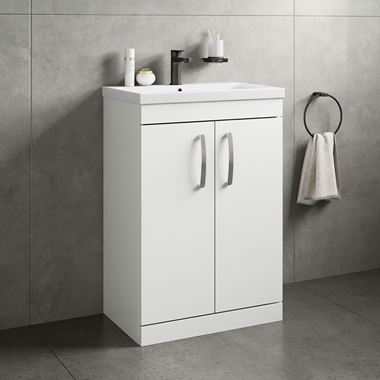 Drench Emily 600mm Floorstanding 2 Door Vanity Unit & Basin - Gloss White